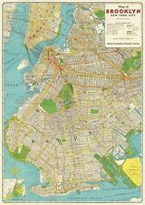 Brooklyn New York MAP   Poster Cavallini & Co 20 x 28 Wrap
