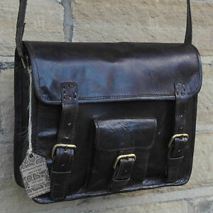 "Real Leather Dark Brown Black Vintage Satchel Messenger Cross Body 11"" Bag SALE"
