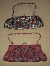 Vintage Evening Beaded Bag / Clutch & Button Purse / Bag Multi Colored