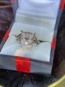 Estate Find.. Beautiful Square Citrine/Silver w/CZ's Ladies Cocktail Ring