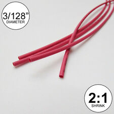 """(3 FEET) 3/128"""" Red Heat Shrink Tubing 2:1 Ratio Wrap inch/foot/ft/to USA 0.6mm"""