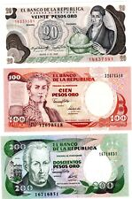 LOT SET SERIE 3 BILLETS Colombie Colombia PESO NEUF UNC