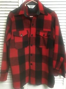 Vintage Woolrich Wool Blend Buffalo Plaid Hunting Shirt USA Men's Medium
