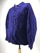 Ancienne Veste de bleu de travail CRÊPIER indigo , usine paysan déguisement