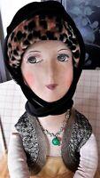 REDUCED! Boudoir Doll, Lovely French Silk-face Flapper Doll, Art Deco