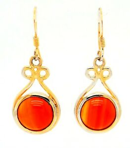 DROP EARRINGS Red Banded Agate Sterling Silver 9ct Gold Plated Earrings