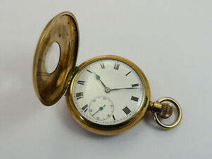 VINTAGE 1920s GOLD FILLED HALF HUNTER GENTS POCKET WATCH RUNS NEEDS CASE REPAIR