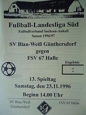 Programm 1996/97 Blau Weiß Günthersdorf - FSV 67 Halle