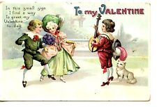 Couple Dance to Music-Instrument-Valentine Holiday Vintage Greeting Postcard