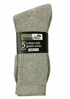 12x Pairs Mens Socks Cotton Rich Basic Sport Socks Shoe Size 6-11 GREY