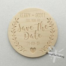 **SAVE THE DATE** Carved Wooden Craft Shape - Personalised Save The Date Plaque.