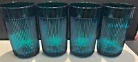 SET OF 4 VINTAGE BIG JUICE GLASSES DARK GREEN COLOUR WITH STRIPES BRAND NEW