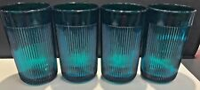 SET OF 4 ACRYLIC BIG JUICE GLASSES DARK GREEN COLOUR WITH STRIPES BRAND NEW