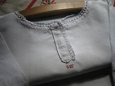 """Antique French Pure Linen Nightdress-Hand Crochet Lace-Red Monogram """"Sst"""""""