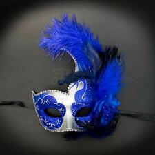 Masquerade Ball Halfmask with Feathers Silver Royal Blue M6131