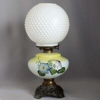Antique Vtg GONE WITH THE WIND Oil Parlor LAMP Embossed MILK GLASS HOBNAIL GLOBE