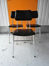 VINTAGE RETRO BLACK VINYL & CHROME DINING CHAIRS FOR UPCYCLING
