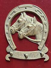 Vintage Brass key rack lucky horceshoe horse head hooks hanger holder 4�X 5�