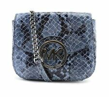 NWT MICHAEL KORS FULTON Python print Small Denim Blue Crossbody from Macys #1