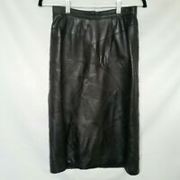 Vintage 80s Black Leather Patch Work Midi Pencil Skirt 8 XS High Waisted