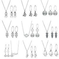 Fashion Silver Pendant Jewelry Necklace Earrings Set Wedding Jewelry Xmas Gift