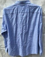BUGATCHI UOMO Mens Long Sleeve Blue/Red Plaid Flip Cuff Shirt XL