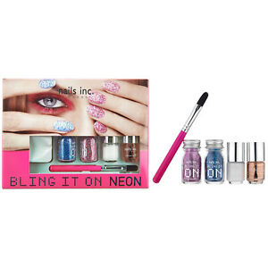 Nails Inc. London Bling It On Rocks Collection Nails Glitters Pink and Blue