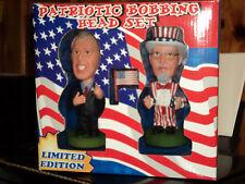 "Patriotic Bobbing Head Set * George W. Bush & Uncle Sam 6"" Bobblehead Figures"