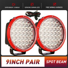 Pair 9inch OSRAM Round LED Driving Lights SPOT FLOOD Work Offroad 4WD Red Fog