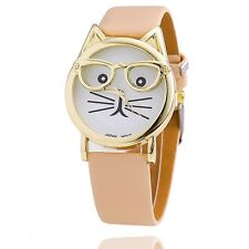 Fashion Cute Glasses Cat Analog Quartz Dial Leather Wrist Watch for Women's Gift Beige