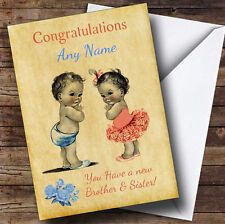You Have Twin Brother & Sister Vintage Personalised New Baby Greetings Card
