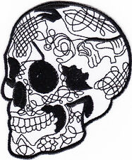 iron on Patches embroidered Patch Groovy Skull Day of the Dead Biker MC a7f6