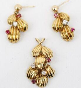 Vintage 18K Yellow Gold Ruby & Diamond Pendant Earrings Set 14.9 grams (#280)