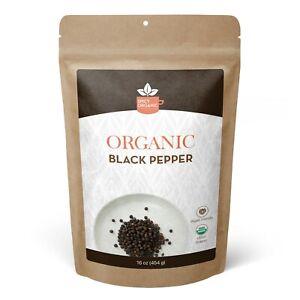 Organic Black Pepper - Dried Whole Peppercorns - 16 OZ