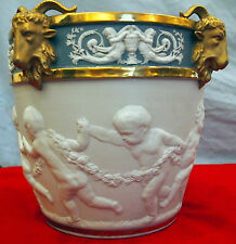 SEVRES 19 C  FRENCH CHERUBS  BISQUE PLANTER SIGNED RARE WITH 4 RAMS HEADS