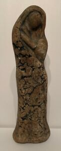 """Folk Art Hand Carved Stone Women Figure 8"""" Tall, Engraved By Stan"""