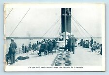 Quebec, Canada - ON BOARD VIEW EARLY 1900s ST LAWRENCE RIVER STEAMSHIP POSTCARD