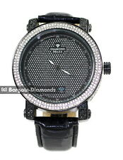 mens diamond black clubbing ice out case watch black leather dlx Gift Box Maxx