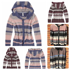 Ladies Multiblu Cardigan with stripes and hood Thick knit jacket Button jumper