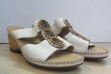 Ladies Gabor White Leather Slip On Wedge Sandals - UK Size 6 #8C