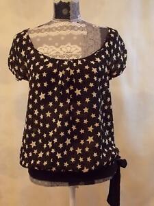 Next Top size 8   Blouse  Short sleeve Round Neck Black