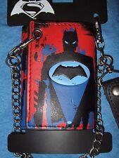 New DC Comics Batman VS Superman Bat Super Hero Symbol Tri Fold Wallet And Chain