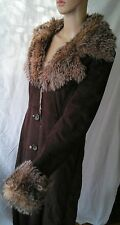 RESERVED BROWN FAUX SUEDE  FAUX FUR COAT M
