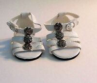 "Doll Clothes 18"" Sandals White Ankle Strap Fits American Girl Dolls"