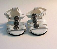 "Doll Clothes AG 18"" Sandals White Ankle Strap Made To Fit American Girl Dolls"