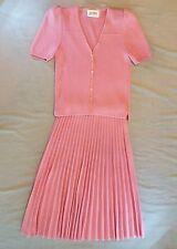 St. John Vintage Pink Knit Cardigan w/ Pleated Skirt Suit Sz s
