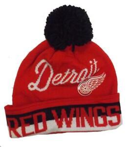 New Detroit Red Wings Mens OSFA CCM Cuffed Pom Beanie Hat $22