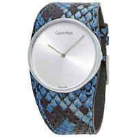 Calvin Klein Spellbound Silver Dial Blue Leather Ladies Watch K5V231V6