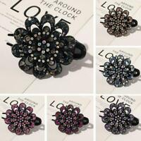 1x Women's Crystal Hair Clips Slide Flower Hairpin Comb Fashion Accessories C9A4