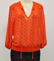Pleione Size Small Women's Sheer Top Red Blue Floral Print Long Sleeve Blouse